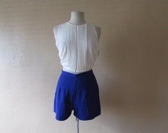 STOREWIDE CLEAROUT SALE deep cobalt blue high waist vintage 80s short shorts - medium M large L