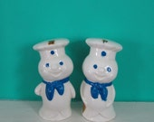 Pilsbury Dough Boy Salt and Pepper Set official issue mid century kitsch spring summer