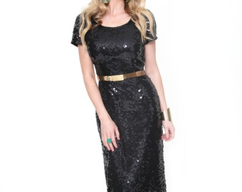 Sequin Bombshell, Vintage, Black Sequin Maxi Dress, from Paris