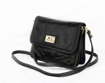 Marc Chantal, Vintage, 1970s Black Leather Satchel Crossbody Handbag, from Paris