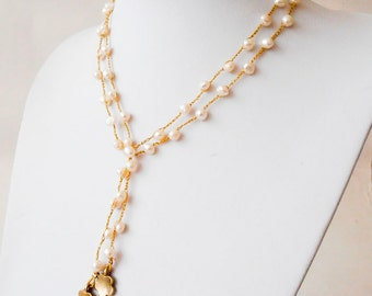 Long Necklace, Fresh Water Pearls Necklace, Gift Idea, Gift For Mom, Sister, Long Jewelry, Knitting Jewelry,Holiday Gift, Israeli Jewelry.