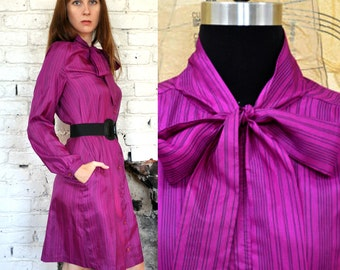 Vintage 70s Silky Purple Pussy Bow Dress with Vertical Pinstripes - Size M/L