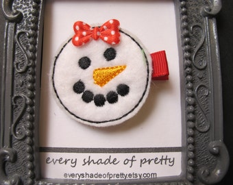 Snowman Face with  Red polka dot  bow Hair Clip--girls hairclip--winter--Christmas