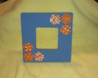Orange Floral 3.5X3.5 Picture Frame