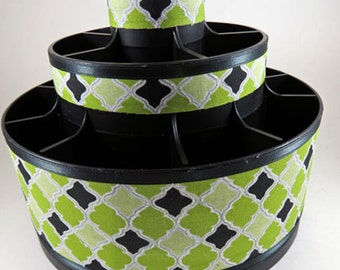 Green Geometric Designed Altered Pampered Chef Tool Caddy Organizer