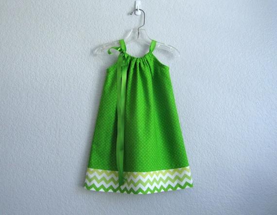 Girls apple green dress with dots chevron stripes girls for Apple green dress shirt