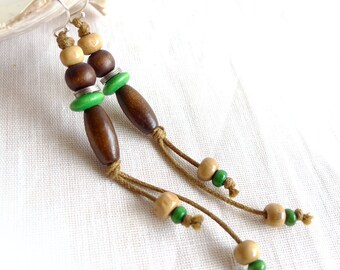 Long Earrings, Natural Eco Jewelry, Green Wood Earrings,Tribal Hippie Earrings, Boho Earrings, Beach Jewelry, Down To Earth Earrings