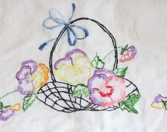 Vintage Bedroom Linen Pillow Case, Pansy Flowers Embroidery,  Hand Embroidered Pansies, Basket of Flowers, Purple Yellow Pink 1950s Linen