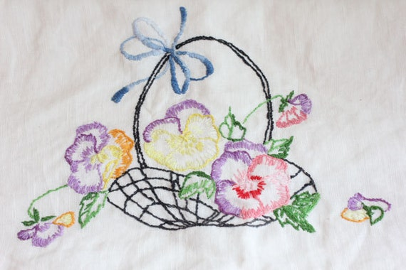 Vintage pansies pillow case hand embroidered basket by