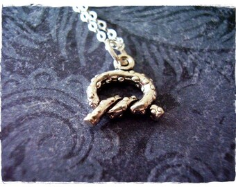 Tiny Pretzel Necklace - Sterling Silver Pretzel Charm on a Delicate Sterling Silver Cable Chain or Charm Only