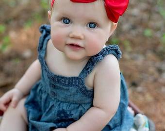 Red Bow Headband/ Red Satin Bow Headband/ Red Baby Headband/ Baby Hair Accessories/ Baby Girls Hair Accessories/ Fourth of July Headband