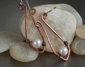 Copper and pearl earrings, dangle, drop, u shaped, artisan jewelry, surgical steel