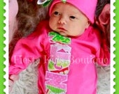 Newborn girl outfit, baby bodysuit, beanie with bow, girl layette, coming home outfit