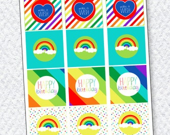 Rainbow Party PRINTABLE Cupcake Toppers (INSTANT DOWNLOAD) from Love The Day