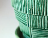 McCoy Basket Weave Planter in Shades of Green