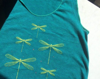 SALE - Dragonflies Tank Top on Emerald Green