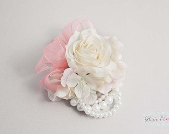 Petite Rose Wrist Corsage, Real Touch roses & cream pink hydrangeas, Cream White / Ivory Coral Peach Pink Red Fuchsia Pink Blue Purple