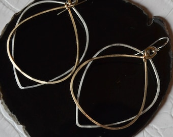 Mixed Metal, Two-Tone Hoop Earrings, Bridesmaid Gift, Silver & Gold