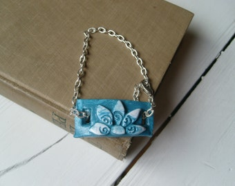 Bracelet or Anklet: Teal With Flower Industrial Zen Collection Steampunk Hippie Bohemian