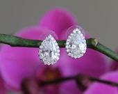 Sparkle filled cz earrings, stud earrings, cubic zirconia earrings, wedding jewelry, bridal jewelry, wedding earrings, bridal earrings