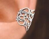 Lace Filigree sterling silver ear cuff Sterling Silver earrings Filigree jewelry Filigree earrings Sterling silver ear cuff Small clip C-080
