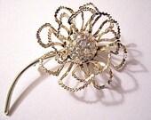 Crimped Crystal Flower Leaf Pin Brooch Gold Tone Vintage Rainbow Aurora Borealis Stones Long Stem Open Petals