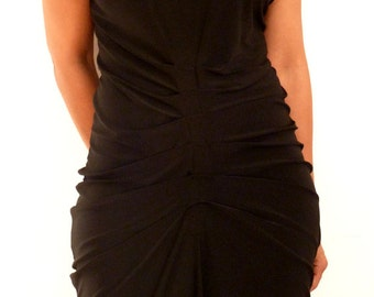 Black Jersey dress with front detail and back/mid-length with raw hem/handmade by Cheryl Johnston
