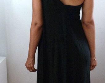 Black rayon lycra one shoulder dress with asymetrical drape back