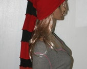 Stocking Hat Black Red Long Upcycled Sweaters Fairy Elf Pixie Liripipe Long Cap