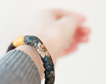 Wrapped Felt Bracelet. Felt bracelet combined with stamped fabrics.Brown and yellow. Winter bracelet. Original Textile Jewelry. Eco-Friendly