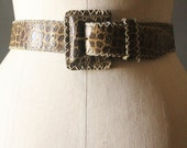 Vintage 80's/90's Wide Olive Green Laced Croc Embossed Square Buckle Belt by Ann Taylor