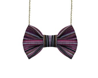 Ethnic Purple - Traditional Aztec Bow Tie Necklace, Custom Gift Wrapped Accessory for Women and Girls, Sterling Silver chain