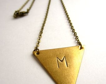 Triangle Initial Necklace Geometric Jewelry Initial Jewelry Custom Personalized Jewelry Raw Brass Necklace