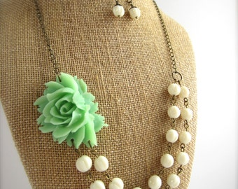 Mint Green Statement Necklace Beaded Flower Necklace Double Strand Rustic Wedding Jewelry Mint Bridesmaid Jewelry Set