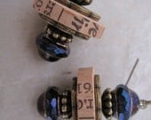 Wine Cork Earrings with Peacock Hued Glass Beads and Antique Brass Accents