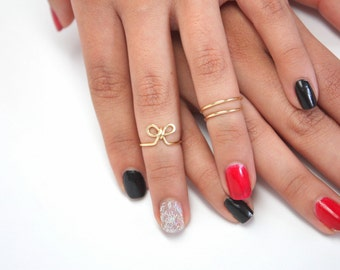 Catchless Bow Knuckle Ring, Sterling Silver or Gold Filled or Rose Gold Filled