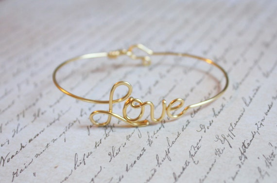Love Bangle - Sterling Silver, Yellow Gold Filled or Copper