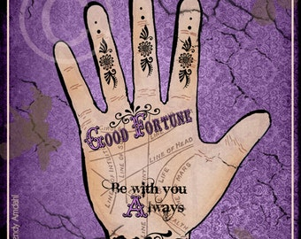 Halloween Art, Illustration, Palmistry Hand, Purple, Poster Art, Advertisement, Fortune Telling, 5x7, Digital Download, Vintage, Eclectic