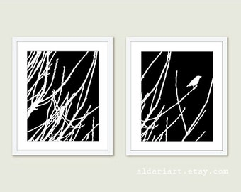 Bird on Twig - Print Set - Black And White - Modern Bird Wall Art - Woodland Branches - Spring Home Decor - Nature Wall Art