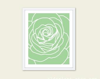 Green Rose Art Print - Rose Wall Art - Modern Decor - Rose Poster - 8x10 - Custom Color - Aldari Art