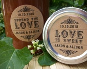 Spread the Love or Love is Sweet KRAFT paper canning jar labels, custom wedding labels, wedding anniversary & bridal shower favors