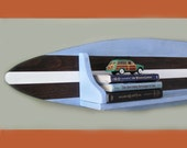 4 Foot Wood Surfboard Shelf in Blue Dark Wood and White