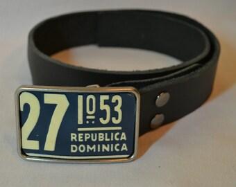 Dominican Republic  License Plate Belt Buckle