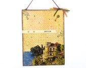CLEARANCE Original Mixed Media Art Collage Old House Seaside Dreamscape Wall Art Light Yellow Original Collage Art Dream Art