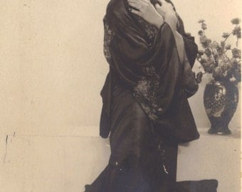 Model in Japanese Costume, Zagreb, Croatia, RPPC circa 1920s