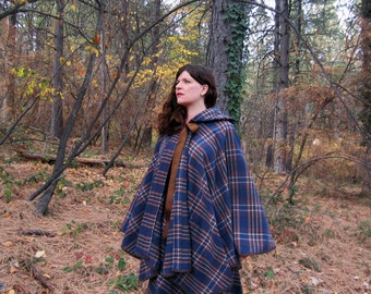 Hooded cape Wool Plaid blue and brown Woods cloak handmade by Brightest Star S/M/L