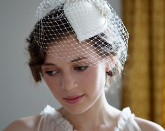 Ivory Bridal Hat, Teardrop Shape Hat with Bow , Duchess Silk Satin and Birdcage veil. 1940s, 1950s, Fascinator