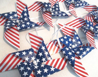 Nautical Banner Beach Party Banner Patriotic Spinning Pinwheel Fourth of July Garland July 4th Banner July 4th Pinwheels Paper Pinwheels