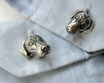 Silver weimaraner cuff links