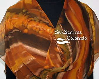 Brown Silk Scarf. Golden Terracotta Hand Painted Scarf. Handmade Chiffon Scarf BROWN SUGAR. Size 11x60. Birthday Gift. Free Gift Wrapping.